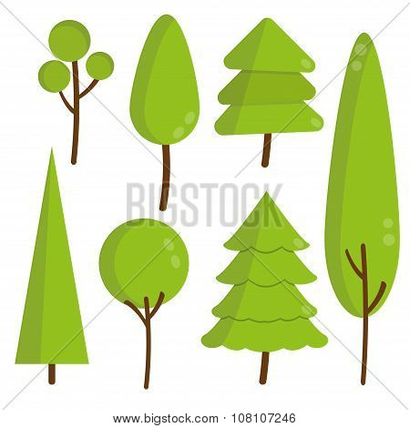 Set Of Green Flat Trees And Pine