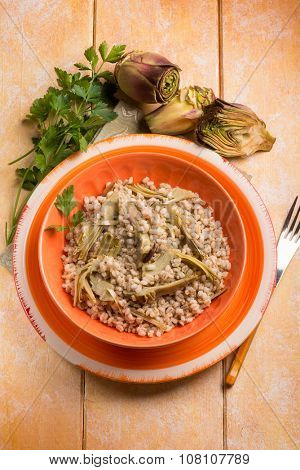 barley risotto with  artichoke