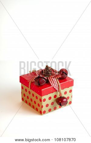 A Rustic Christmas Present On A White Background