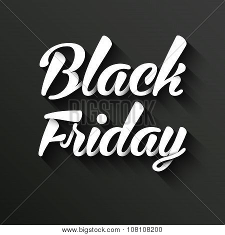 Black Friday Calligraphic Poster. Vector Banner with long shadow