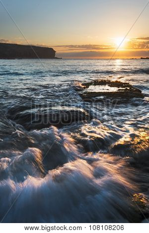 Sunrise Seascape With Rushing Water