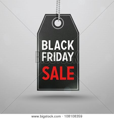 Black Friday Sale Price Tag. Vector Black Label with shadow