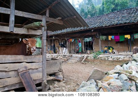 H'mong ethnic minority people is in front of their house in Hagiang, Vietnam.