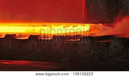 hot plate on conveyor inside of steel plant