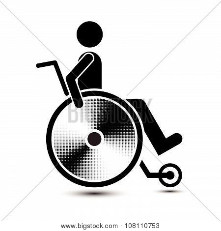 Disabled Person Warning Sign, Handicap Sign, Easy To Edit Vector Image, Illustration Vector