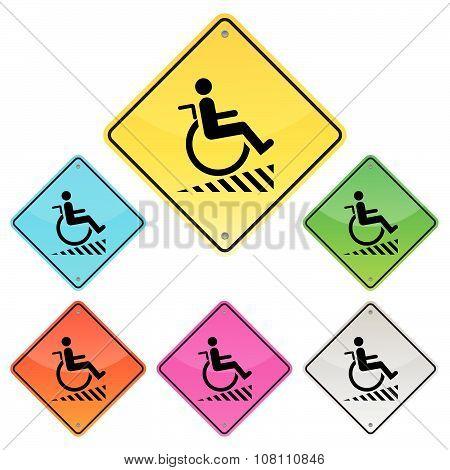 Disabled Person Warning Sign, Handicap Sign, Illustration Vector