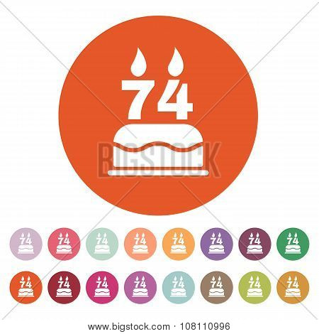 The birthday cake with candles in the form of number 74 icon. Birthday symbol. Flat