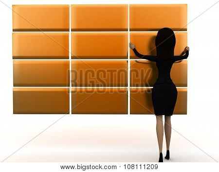 3D Woman Arranging Golden  Blocks Concept