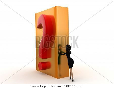 3D Woman Pushing A Question Mark Concept