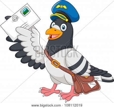 Cartoon funny pigeon delivering letter isolated on white background