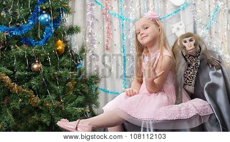 greeting card with monkey, girl, new year tree, decorations