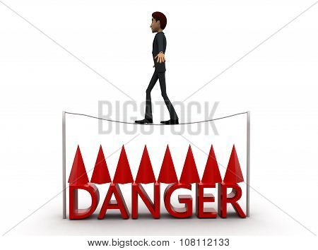 3D Man Walking Through Narrow Wire And Sharp Edged Objects Below Wire Concept