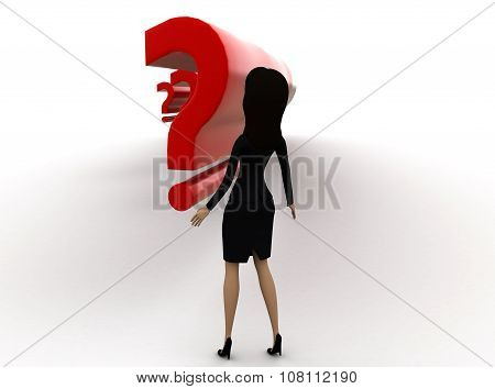 3D Woman Suprised By Looking At Question Marks Concept