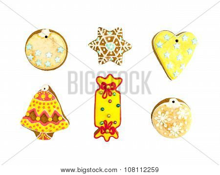 Christmas Colorful Gingerbread Cookies