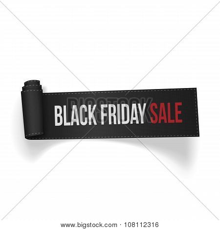 Realistic curved textile Ribbon Black Friday Sale