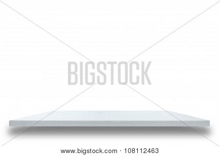 Empty Top Of White Wooden Table Or Counter Isolated On White Background
