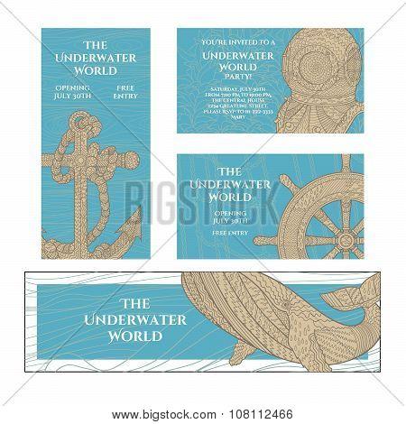 Marine zentangle banners set.