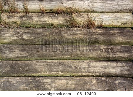 Wall Gray Wooden Texture With Horisontal Lines