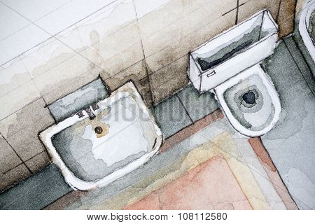 Watercolor illustration of bathroom sink and toilet