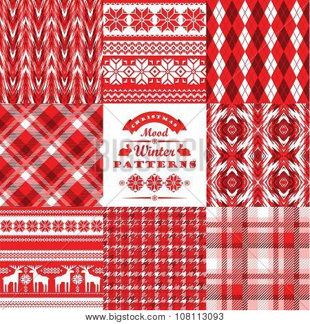 Christmas And New Year Set.plaid And Ornamental Seamless Backgrounds.