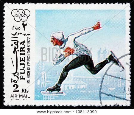 Postage Stamp Fujeira 1972 Speed Skating