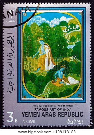 Postage Stamp Yemen 1971 Krishna And Radha