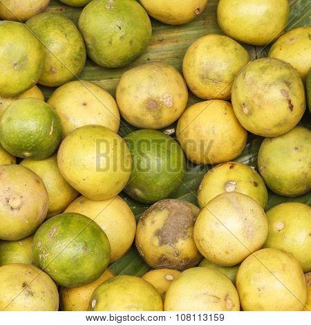Fresh Lime On Banana Leaf