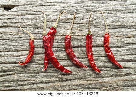 Dried Red Hot Chili Peppers On Rustic Wooden Background, Overhead View Of Dried Chili Peppers
