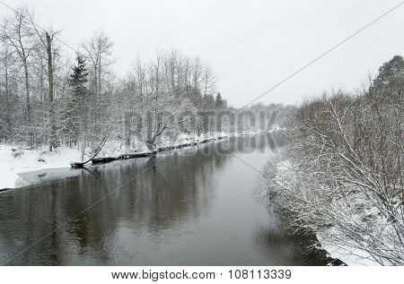 Timber River In Winter