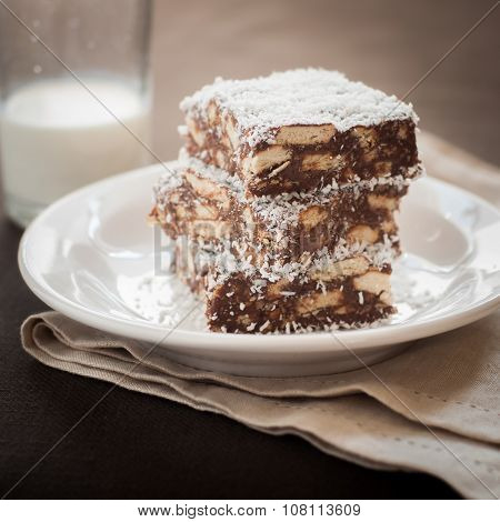 Chocolate Coconut Slice With Biscuits