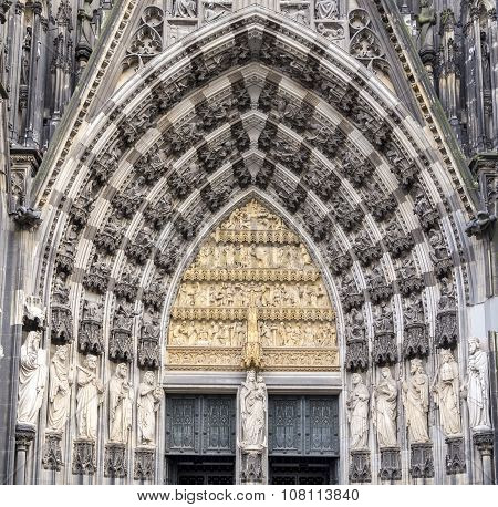 Cologne, Germany, The Medieval Portal, Main Entrance Of The Dome