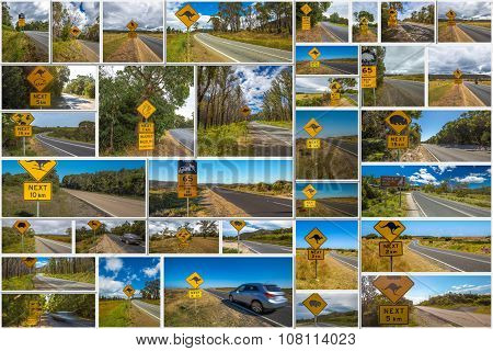 Australian crossing signs collage