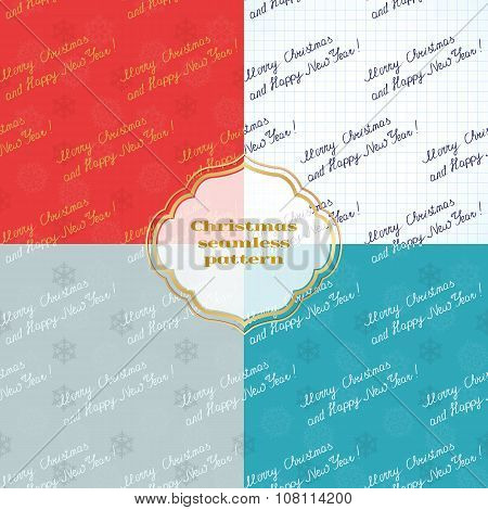 set of seamless patterns with inscription
