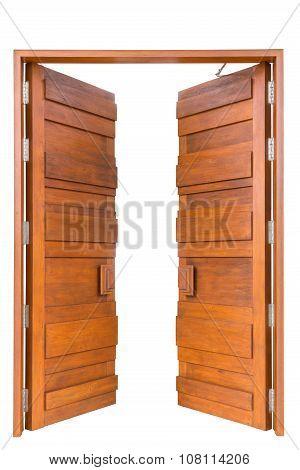 Big Teak Wooden Door In Luxury Villa Isolated On White
