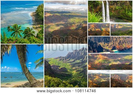 Kauai aerial view collage