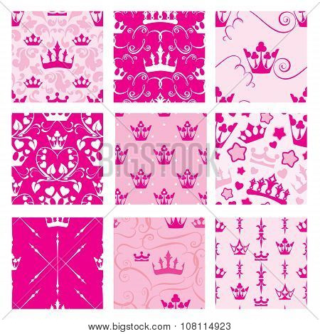 Set Of Pink Backgrounds With Princess Crowns. Seamless Backdrop Patterns For Girls Design.