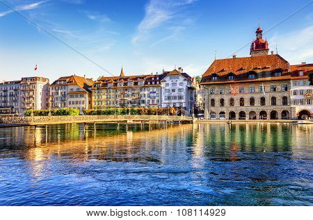 Lucerne, Switzerland, View Of The Old Town With Town Hall And Reuss River