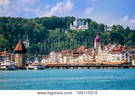 Lucerne, Switzerland, View Of The Old Town From Lake Lucerne