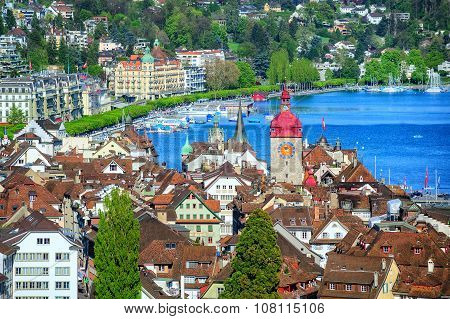 Lucerne, Switzerland, Aerial View Over Old Town To The Lake