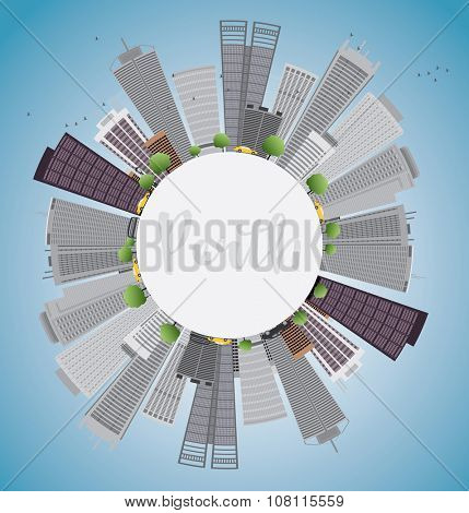 Perth skyline with grey buildings, blue sky and copy space. Vector illustration. Business travel and tourism concept with place for text. Image for presentation, banner, placard and web site.