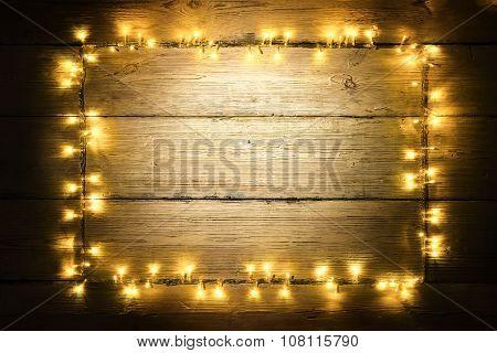 Garland Lights Wood Frame, Christmas Lighting Wooden Planks, Yellow Light Board Sign
