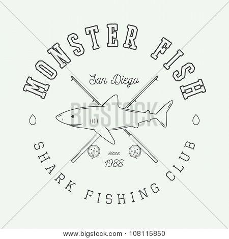Vintage Fishing Label, Logo, Badge Or Emblem With Shark. Vector Illustration