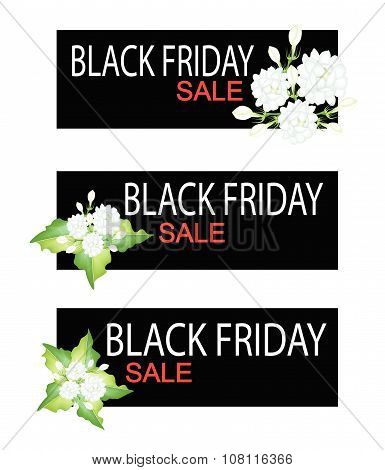 Jasmine Flowers On Black Friday Sale Banner