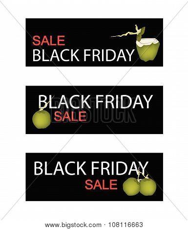 Coconut Fruits On Black Friday Sale Banner