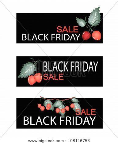 Red Cherries On Black Friday Sale Banner