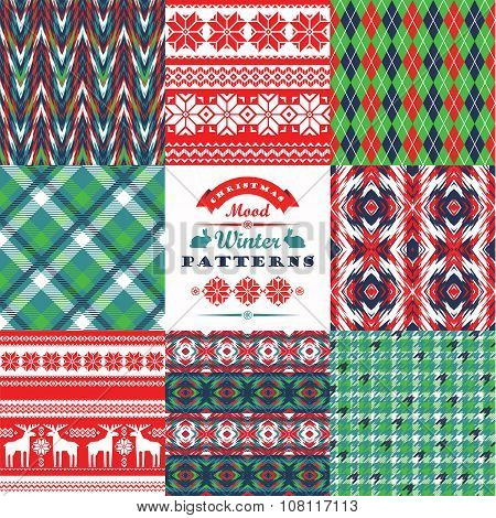 Christmas And New Year Set. Plaid And Ornamental Seamless Backgrounds.