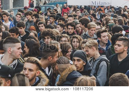 Thousands  Of Students And Theachers Prostesting In Milan, Italy