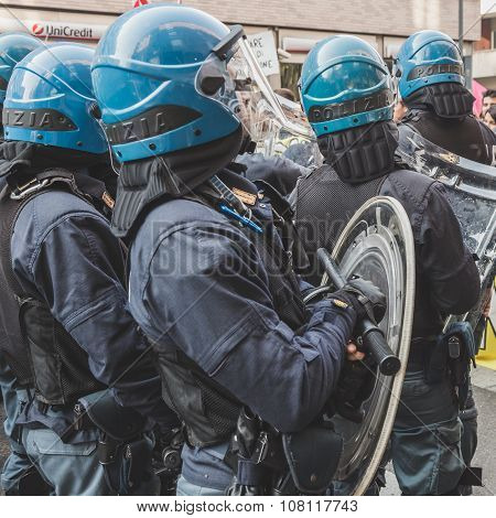 Riot Police Confronting The Students In Milan, Italy