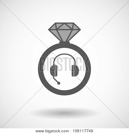 Isolated Vector Ring Icon With  A Hands Free Phone Device
