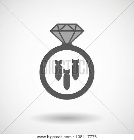 Isolated Vector Ring Icon With Three Bombs Falling